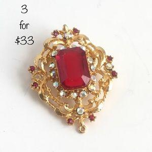 Vintage Red Rhinestone Brooch 3/$33 SALE